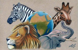 Earth with African Animals
