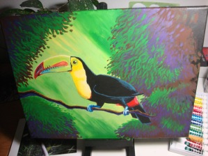 Starting to add more definition to foliage. Some highlights to the toucan as well.