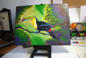 Nearly done. More work on foliage highlights and shadows. More overall highlighting on the toucan's body.
