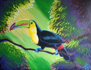 Finally done, after adding some dark blue for shadows in the foliage, and finishing final toucan colors.
