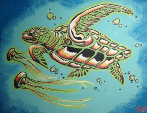 "Seaturtle with Jellies 16"" x 20"""