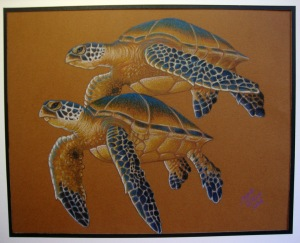 "Green Seaturtles 9"" x 12"""