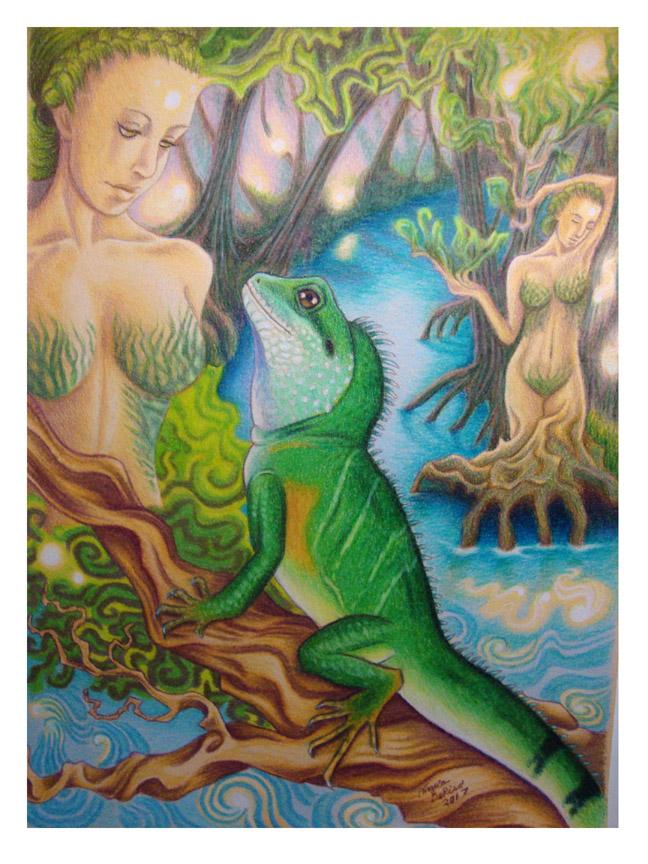 water dragon reptiles art fantasy colored pencil