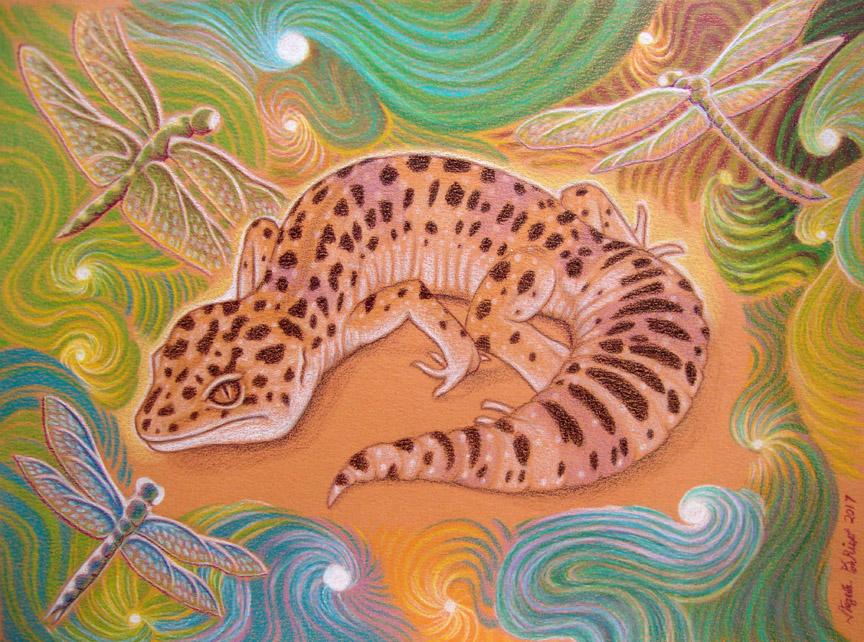 leopard gecko reptiles art fantasy colored pencil